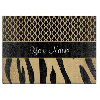 Black and Gold Metallic Animal Stripes Cutting Board