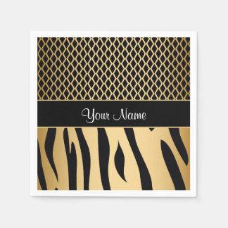 Black and Gold Metallic Animal Stripes Disposable Napkins