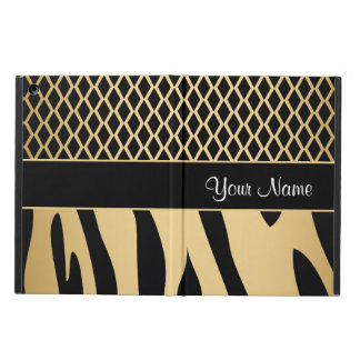 Black and Gold Metallic Animal Stripes iPad Air Case