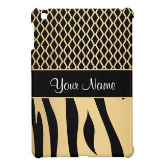 Black and Gold Metallic Animal Stripes iPad Mini Cover
