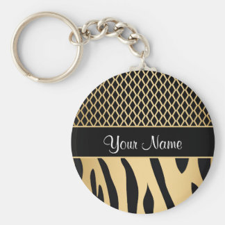 Black and Gold Metallic Animal Stripes Keychain