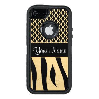 Black and Gold Metallic Animal Stripes OtterBox Defender iPhone Case