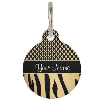 Black and Gold Metallic Animal Stripes Pet Tag