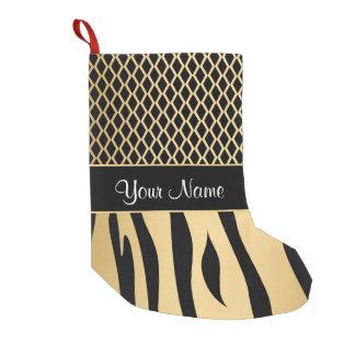 Black and Gold Metallic Animal Stripes Small Christmas Stocking