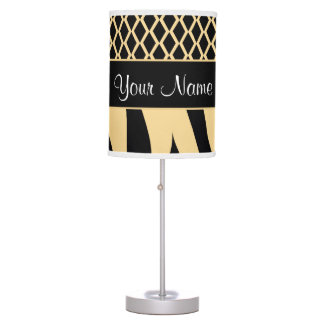 Black and Gold Metallic Animal Stripes Table Lamp