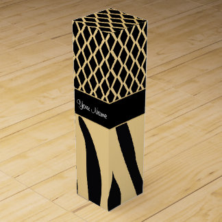 Black and Gold Metallic Animal Stripes Wine Gift Box