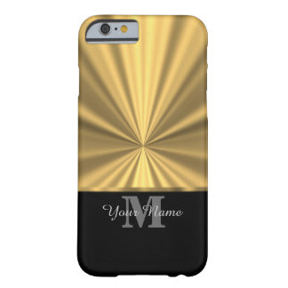 Black and gold metallic monogram barely there iPhone 6 case