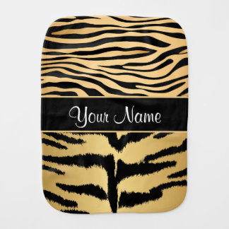Black and Gold Metallic Tiger Stripes Pattern Burp Cloth