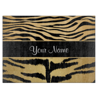 Black and Gold Metallic Tiger Stripes Pattern Cutting Board