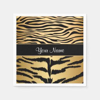 Black and Gold Metallic Tiger Stripes Pattern Disposable Napkins