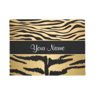 Black and Gold Metallic Tiger Stripes Pattern Doormat