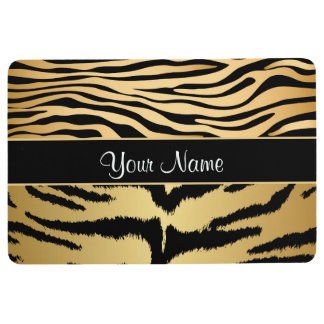 Black and Gold Metallic Tiger Stripes Pattern Floor Mat