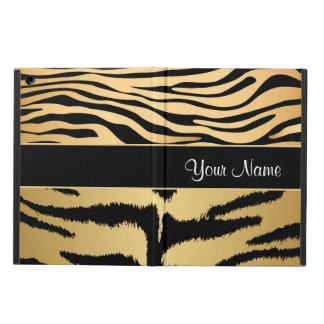 Black and Gold Metallic Tiger Stripes Pattern iPad Air Cover
