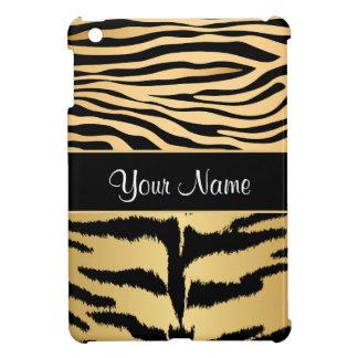 Black and Gold Metallic Tiger Stripes Pattern iPad Mini Cover