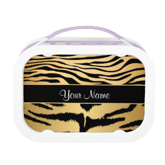 Black and Gold Metallic Tiger Stripes Pattern Lunch Box