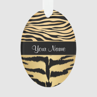 Black and Gold Metallic Tiger Stripes Pattern Ornament