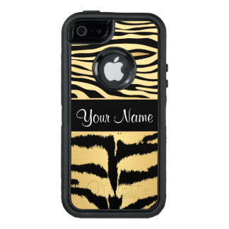 Black and Gold Metallic Tiger Stripes Pattern OtterBox Defender iPhone Case