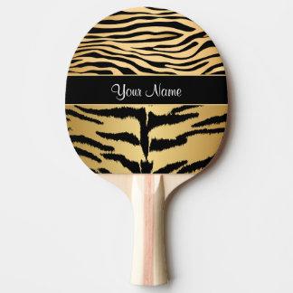 Black and Gold Metallic Tiger Stripes Pattern Ping Pong Paddle