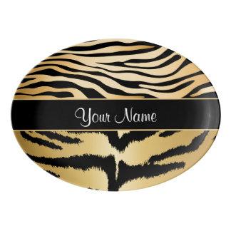 Black and Gold Metallic Tiger Stripes Pattern Porcelain Serving Platter