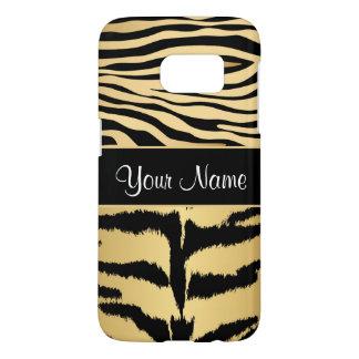 Black and Gold Metallic Tiger Stripes Pattern Samsung Galaxy S7 Case