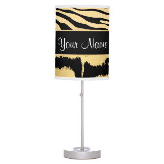 Black and Gold Metallic Tiger Stripes Pattern Table Lamp