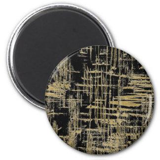 Black and Gold Modern Art 2 Inch Round Magnet