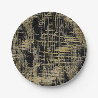 Black and Gold Modern Art 7 Inch Paper Plate