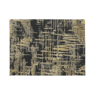 Black and Gold Modern Art Doormat