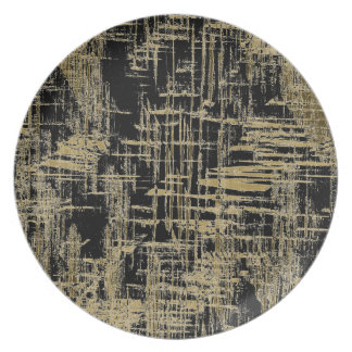 Black and Gold Modern Art Plate