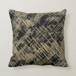 Black and Gold Modern Art Throw Pillow
