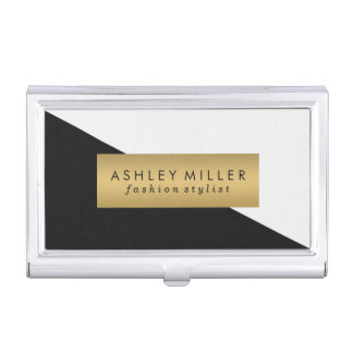 Black and Gold Modern Color Block Business Card Holder