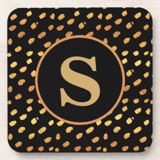 Black and Gold Monogram Coaster