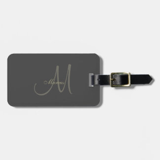 Black and Gold Monogram Luggage Tag