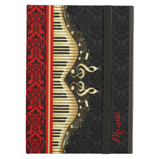 Black And Gold Music Notes Design Red Accents iPad Air Case