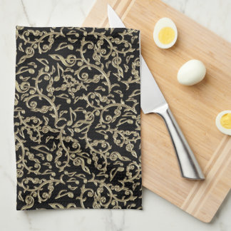 Black and Gold Music Notes Floral Kitchen Towel