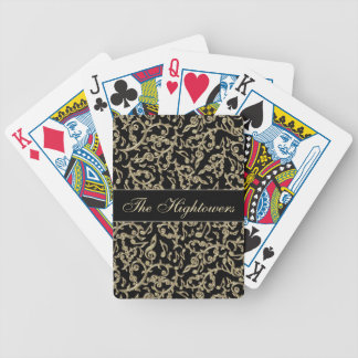Black and Gold Music Notes Floral Poker Deck
