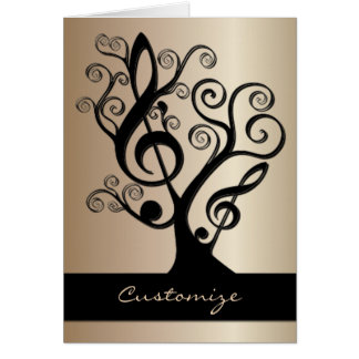 Black and Gold Music Treble Clef Tree Card