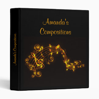 Black and Gold Musical Notes Vinyl Binder
