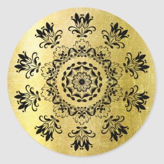 Black and Gold Mystical Mandala Abstract Sticker
