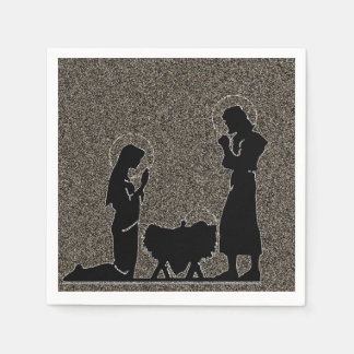 Black and Gold Nativity Textured Paper Napkins