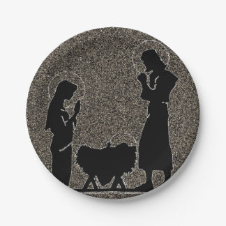 Black and Gold Nativity Textured Paper Plate