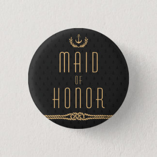 Black And Gold Nautical Buttons Maid Of Honor
