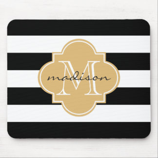 Black and Gold Nautical Stripes Custom Monogram Mouse Pad