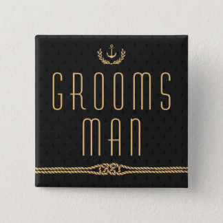 Black And Gold Nautical Wedding Buttons Groomsman