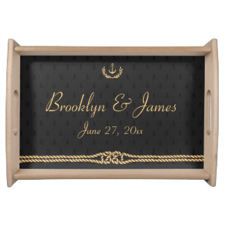 Black And Gold Nautical Wedding Serving Tray Small