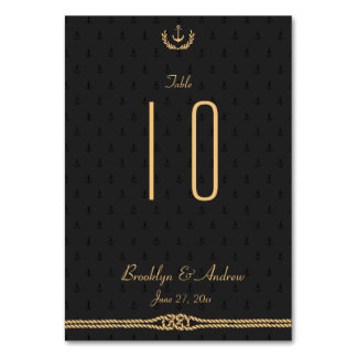Black And Gold Nautical Wedding Table Numbers