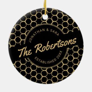 Black and Gold Newlywed Keepsake Christmas Ceramic Ornament