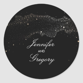 Black and Gold Night Stars Modern Wedding Round Sticker