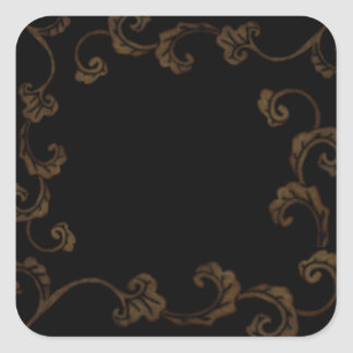 Black and Gold Ornate Leaves Square Sticker