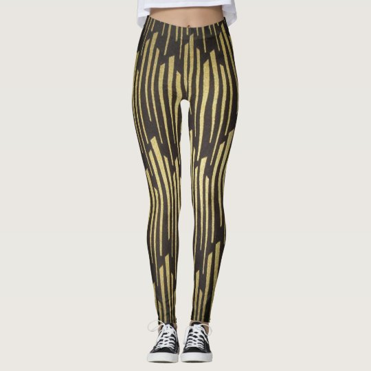 Black and Gold Pattern woman's Leggings